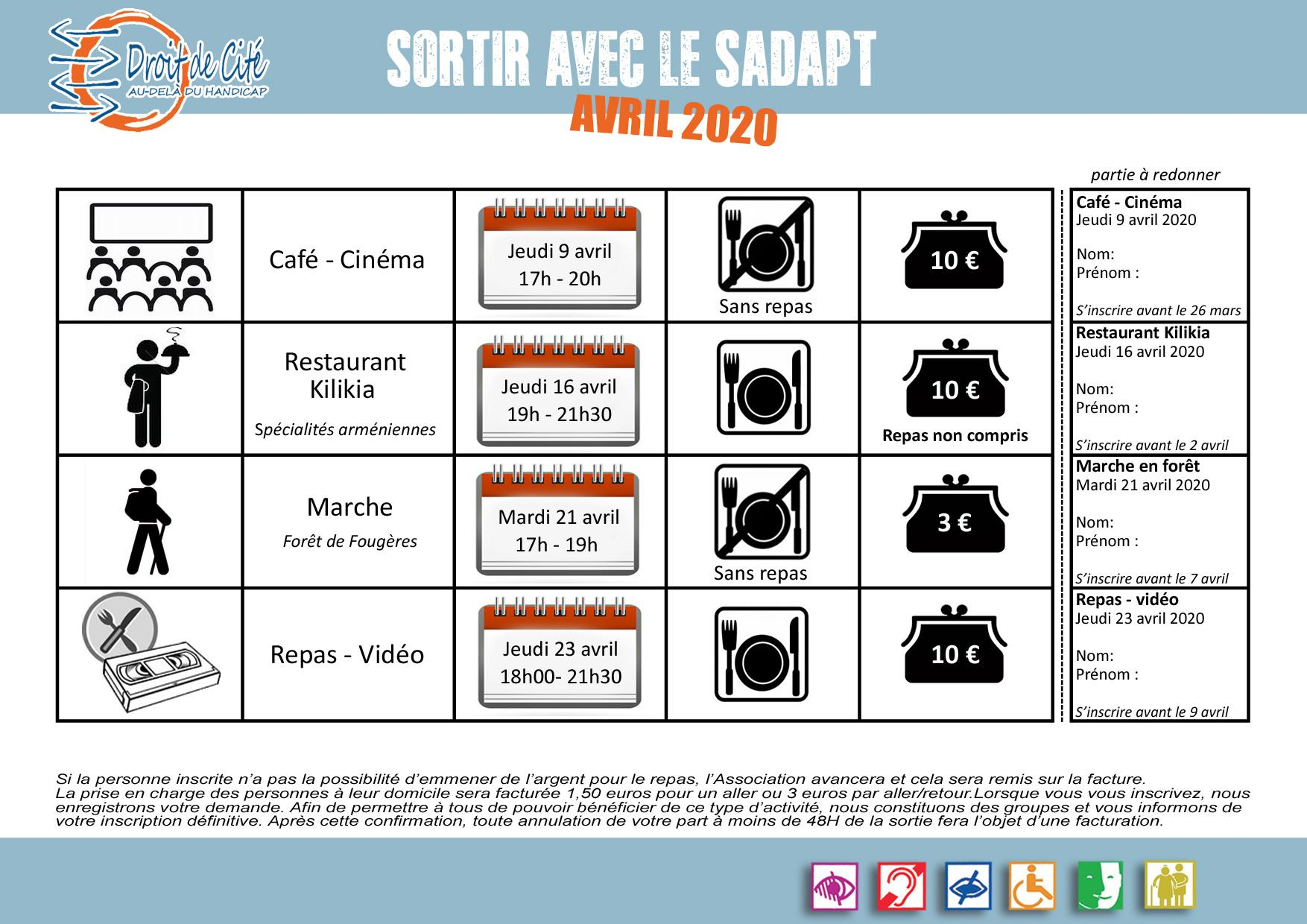 Sorties avril 2020 sadapt